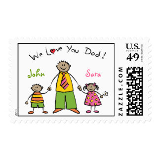 We Love You Dad Cartoon Family Happy Father's Day Stamp