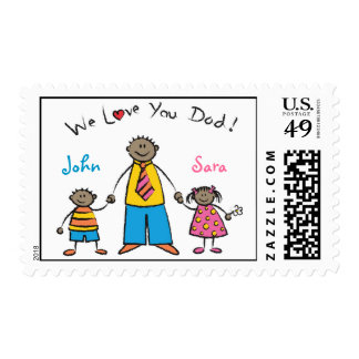 We Love You Dad Cartoon Family Happy Father's Day Stamps
