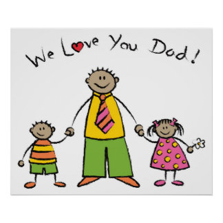 We Love You Dad Cartoon Family Happy Father's Day Poster