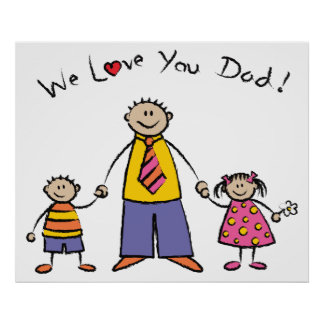 We Love You Dad Cartoon Family Happy Father's Day Posters