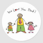 We Love You Dad Cartoon Family Happy Father's Day Sticker
