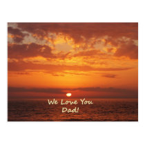 We Love You Dad Ocean Sunset orange Postcard