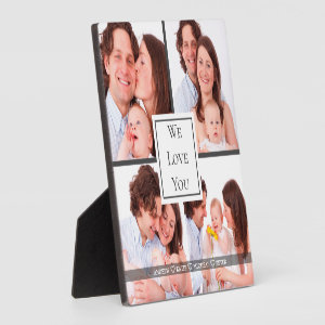 We Love you Daddy, Personalized 4 Photo College  Plaque