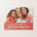 """We Love You Grandma Custom Photo Mother&#39;s Day Gift Jigsaw Puzzle<br><div class=""""desc"""">Custom printed puzzles personalized with your photo and text. Add a special photo with your mother or grandmother for Mother&#39;s Day. Text reads &quot;We Love You Grandma&quot; or customize it with your own message. Use the design tools to add more photos, change the background color and edit the text fonts...</div>"""