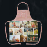 """WE LOVE YOU GRANDMA Family Photo Collage Pink Apron<br><div class=""""desc"""">We love you Grandma! Perfect gift for Mother's Day,  Birthday,  or the Holidays: A modern,  sweet apron customized with ten of your personal favorite photos as well as a message,  names for the best grandmother ever. This is the dusty pink and white striped version.</div>"""