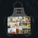 """WE LOVE YOU GRANDMA Family Photo Collage Script Apron<br><div class=""""desc"""">We love you Grandma! Perfect gift for Mother's Day,  Birthday,  or the Holidays: A modern,  sweet apron customized with ten of your personal favorite photos as well as a message,  names for the best grandmother ever. This is the black and white striped version.</div>"""