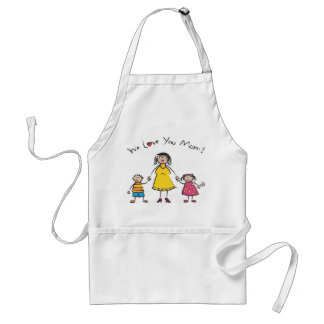 We Love You Mom Cartoon Family Happy Mother's Day Adult Apron