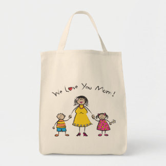 We Love You Mom Cartoon Family Happy Mother's Day Grocery Tote Bag