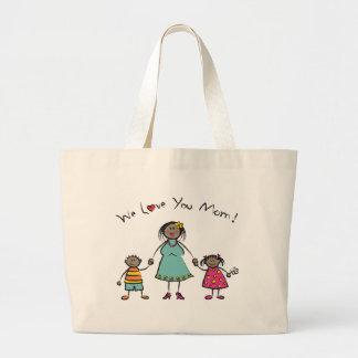 We Love You Mom Cartoon Family Happy Mother's Day Jumbo Tote Bag
