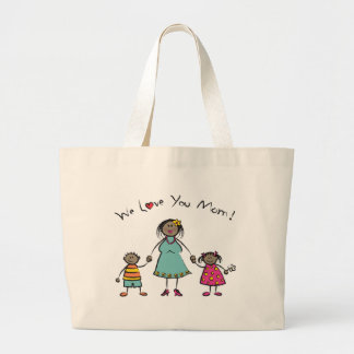 We Love You Mom Cartoon Family Happy Mother's Day Large Tote Bag