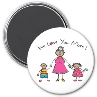 We Love You Mom Cartoon Family Happy Mother's Day 3 Inch Round Magnet