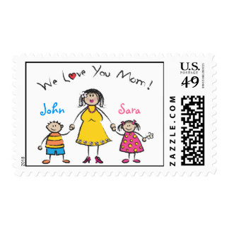 We Love You Mom Cartoon Family Happy Mother's Day Postage