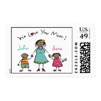We Love You Mom Cartoon Family Happy Mother's Day Stamps