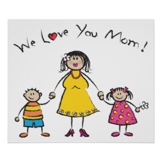 We Love You Mom Cartoon Family Happy Mother's Day Poster