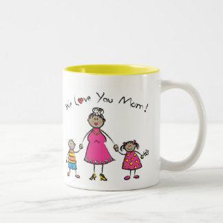 We Love You Mom Cartoon Family Happy Mother's Day Two-Tone Coffee Mug
