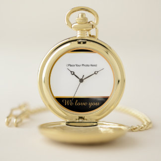 We love you (your photo) pocket watch