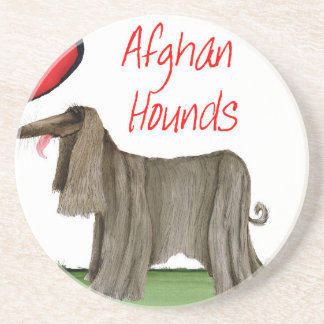we luv afghan hounds from tony fernandes sandstone coaster