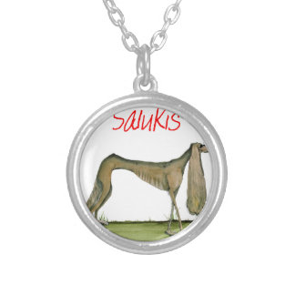 we luv salukis from Tony Fernandes Silver Plated Necklace