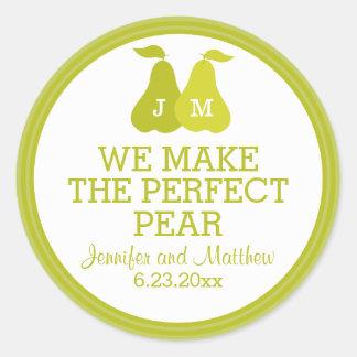 We Make The Perfect Pear Wedding Favor Monogram Classic Round Sticker