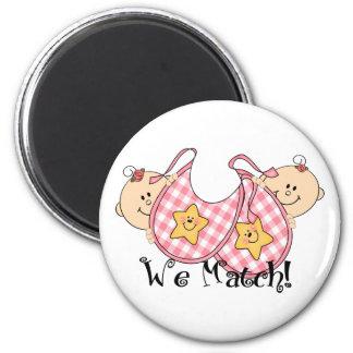 We Match Peeking Twins with Bibs 2 Girls Refrigerator Magnet