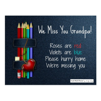 We Miss You Grandpa: Short Poem from Kids Postcard