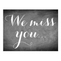 We miss you, Handwriting Typography Black White Postcard