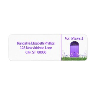 We Moved Announcement Purple Flowers Double Doors Label