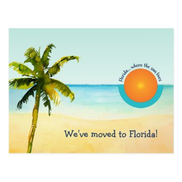 We Moved to Florida Beach Scene Change of Address Postcard