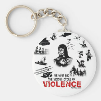We Must End the Vicious Cycle of Violence! Basic Round Button Keychain