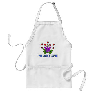 We Must Love Adult Apron