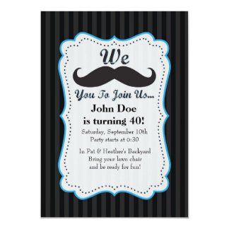 """We Mustache You To Join Us Birthday Invitation! 5"""" X 7"""" Invitation Card"""