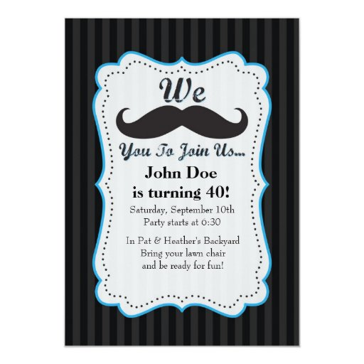 We Mustache You To Join Us Birthday Invitation! 5x7 Paper Invitation Card