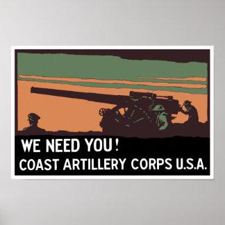 We need you! Coast Artillery Corps USA Poster