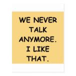we never talk postcards