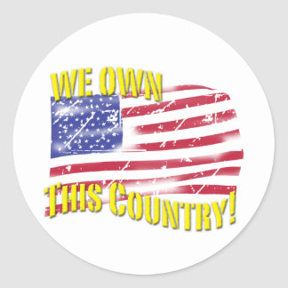 We own this Country! patriotic design Round Stickers