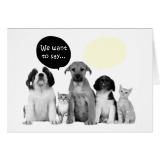 We pack of doggies say happy birthday card