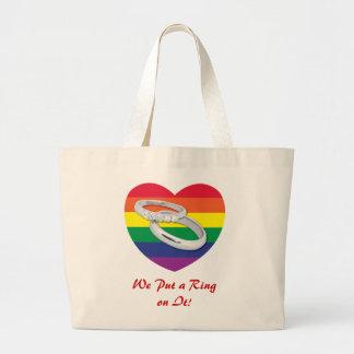 We Put a Ring on It Gay Wedding Canvas Bag