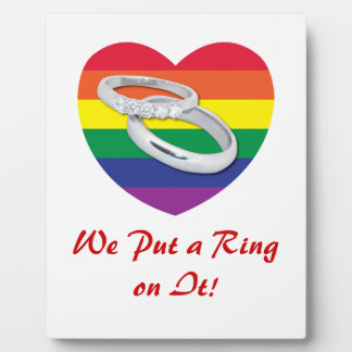 We Put a Ring on It Gay Wedding Plaque