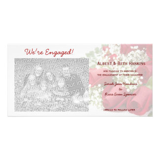 We re Engaged Red Roses Photo Cards