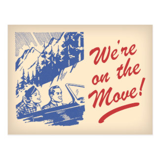 We re On the Move Retro Change of Address Postcard
