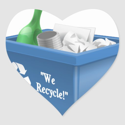 We Recycle Heart Sticker