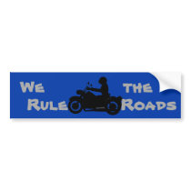 We Rule the Roads Biker Bumper Sticker