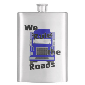 We Rule the World Blue Trucker Classic Flask