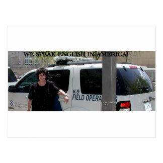 WE SPEAK ENGLISH IN AMERICA POSTCARD