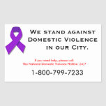 We Stand Against Domestic Violence Rectangular Sticker