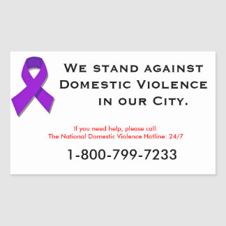 We Stand Against Domestic Violence Rectangular Stickers