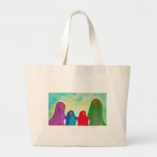 We Stay Together Waldorf Inspired Watercolor Large Tote Bag
