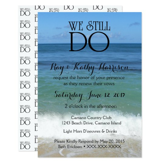 We Still Do Beach Wedding Vow Renewal Invite Zazzle Com