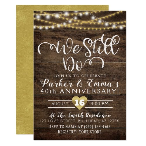 We Still Do String lights wood with gold foil look Invitation