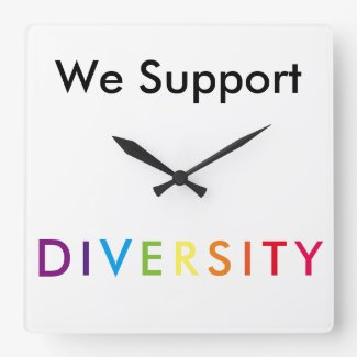 We Support Diversity Pride Rainbow CricketDiane Square Wall Clock